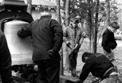 The bronze bell from the Park Street Church being installed outside the Northshore UU Church in the early 1970s.