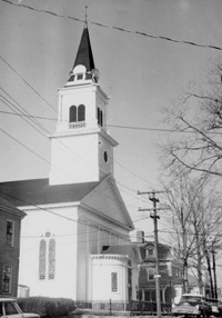 The Park Street Church in Peabody. The only one of our predecessor churches that is still standing, Park Street was the source of our bell and the wood paneling our the board room.
